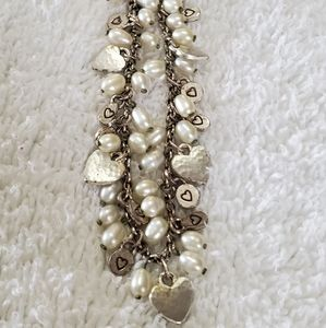 "Jewelry - Vintage ""B"" ❤ & Faux Pearl Charm Necklace"